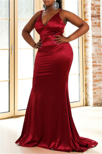 Red Fashion Sexy Plus Size Solid Backless Strap Design Spaghetti Strap Evening Dress