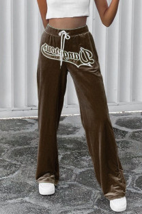 Brown Casual Letter Print Split Joint Straight High Waist Straight Positioning Print Bottoms