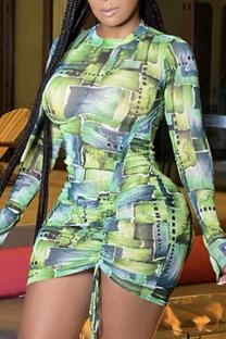 Light Green Sexy Print Split Joint O Neck Pencil Skirt Dresses