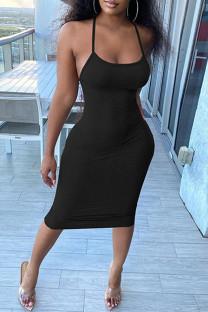 Black Fashion Sexy Solid Backless Spaghetti Strap Sleeveless Dress