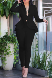 Black Fashion Casual Solid Split Joint Flounce Turndown Collar Long Sleeve Two Pieces