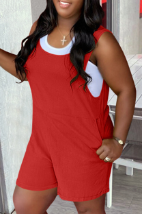 Red Casual Solid Split Joint U Neck Straight Jumpsuits