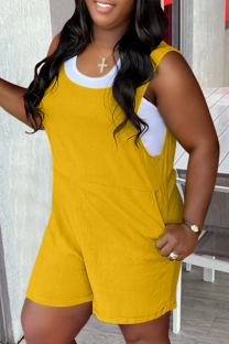 Yellow Casual Solid Split Joint U Neck Straight Jumpsuits