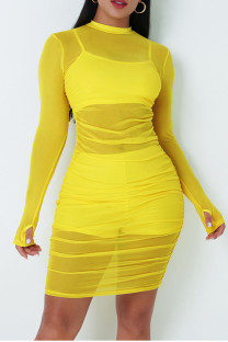 Yellow Sexy Solid Split Joint See-through Fold O Neck Long Sleeve Three Pieces