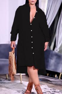 Black Casual Solid Split Joint Buckle Turndown Collar Shirt Dress Plus Size Dresses