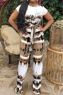 White Brown Casual Print Bandage Split Joint O Neck Short Sleeve Two Pieces
