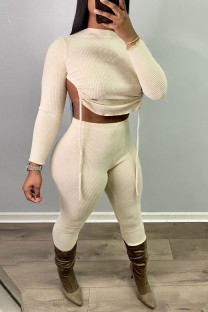 Apricot Sexy Solid Split Joint Draw String Backless O Neck Long Sleeve Two Pieces