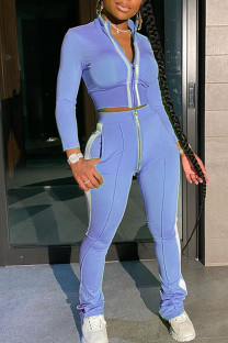 Baby Blue Casual Solid Split Joint Zipper Half A Turtleneck Long Sleeve Two Pieces