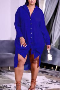 Blue Casual Solid Split Joint Buckle Turndown Collar Shirt Dress Plus Size Dresses