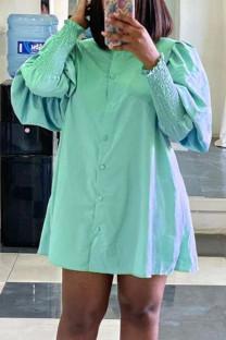 Light Green Street Solid Split Joint Buckle Turndown Collar Shirt Dress Dresses