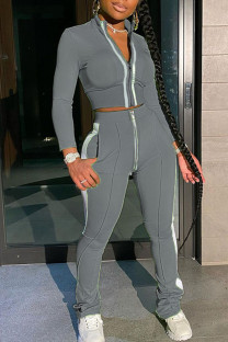 Grey Casual Solid Split Joint Zipper Half A Turtleneck Long Sleeve Two Pieces