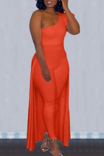 Tangerine Red Street Solid Split Joint Asymmetrical Oblique Collar Skinny Jumpsuits