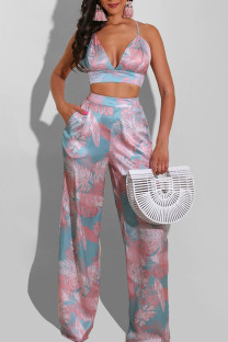 Pink Purple Sexy Print Bandage Split Joint Backless Sleeveless Two Pieces