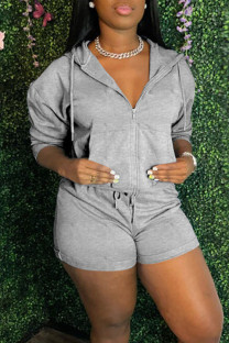 Grey Casual Solid Split Joint Hooded Collar Long Sleeve Two Pieces