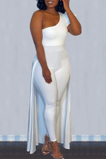 White Street Solid Split Joint Asymmetrical Oblique Collar Skinny Jumpsuits