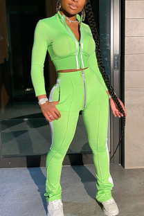 Fluorescent Green Casual Solid Split Joint Zipper Half A Turtleneck Long Sleeve Two Pieces