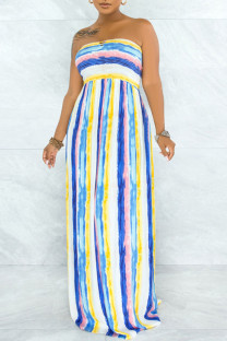 Yellow Blue Sexy Striped Print Hollowed Out Split Joint Backless Strapless Strapless Dress Dresses