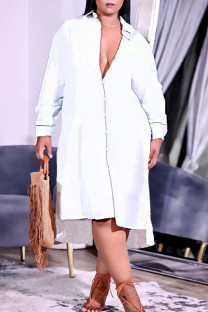 White Casual Solid Split Joint Buckle Turndown Collar Shirt Dress Plus Size Dresses