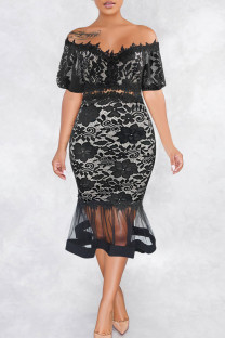 Black Sexy Solid Split Joint See-through Off the Shoulder Trumpet Mermaid Dresses