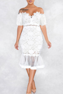 White Sexy Solid Split Joint See-through Off the Shoulder Trumpet Mermaid Dresses
