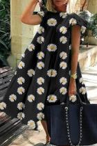 Black Yellow Casual Print Split Joint O Neck Cake Skirt Dresses
