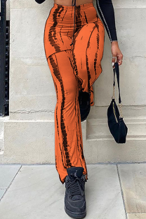 Orange Casual Print Split Joint Boot Cut High Waist Speaker Full Print Bottoms