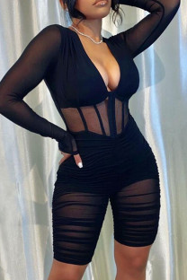 Black Sexy Solid Split Joint See-through Fold Mesh V Neck Skinny Jumpsuits