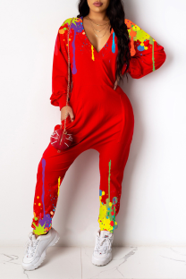 Red Casual Print Split Joint V Neck Harlan Jumpsuits