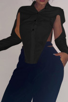 Black Sexy Solid Hollowed Out Split Joint Slit Asymmetrical Turndown Collar Tops