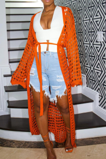 Orange Casual Solid Hollowed Out Outerwear