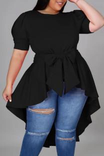 Black Casual Solid Bandage Split Joint Asymmetrical O Neck Irregular Dress Dresses