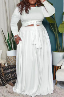 White Casual Solid Bandage Split Joint O Neck Plus Size Two Pieces