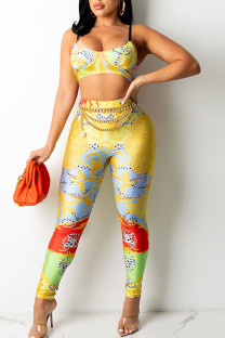 Yellow Sexy Print Split Joint Spaghetti Strap Sleeveless Two Pieces (Without Belt)
