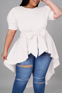 White Casual Solid Bandage Split Joint Asymmetrical O Neck Irregular Dress Dresses