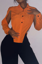 Orange Sexy Solid Hollowed Out Split Joint Slit Asymmetrical Turndown Collar Tops