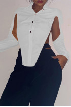 White Sexy Solid Hollowed Out Split Joint Slit Asymmetrical Turndown Collar Tops