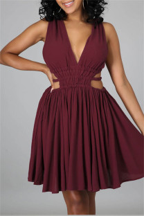 Burgundy Sexy Casual Solid Hollowed Out Backless V Neck Sleeveless Dress