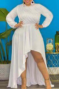 White Sexy Solid Split Joint Asymmetrical O Neck Irregular Dress Plus Size Dresses