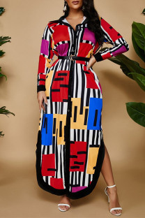 Red Fashion Casual Print Without Belt Turndown Collar Long Sleeve Plus Size Dresses