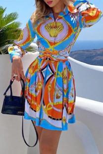 Multicolor Fashion Casual Print With Belt Turndown Collar Long Sleeve Shirt Dress