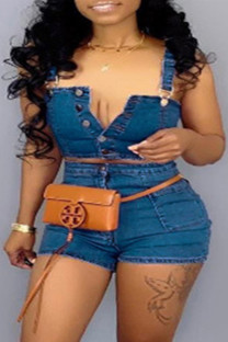 Blue Sexy Casual Solid Buttons Backless Spaghetti Strap Plus Size Two Pieces