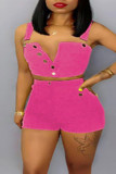Rose Red Sexy Casual Solid Buttons Backless Spaghetti Strap Plus Size Two Pieces
