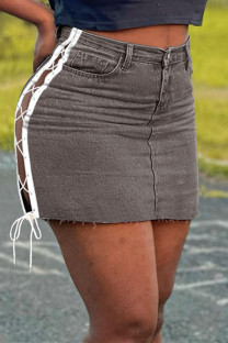 Deep Coffee Fashion Casual Patchwork Bandage Hollowed Out High Waist Regular Denim Skirts