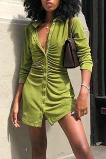 Green Casual Solid Split Joint Buckle Turndown Collar Shirt Dress Dresses