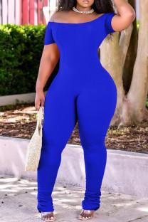 Blue Fashion Casual Solid Fold Off the Shoulder Regular Jumpsuits