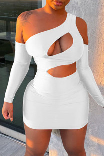 White Fashion Sexy Solid Hollowed Out Backless One Shoulder Long Sleeve Dresses
