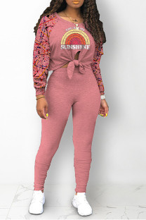 Pink Street Print Bandage Split Joint O Neck Long Sleeve Two Pieces