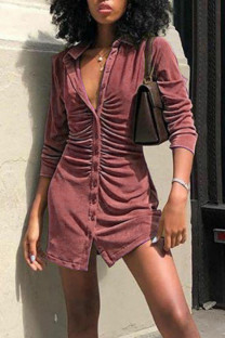 Pink Casual Solid Split Joint Buckle Turndown Collar Shirt Dress Dresses