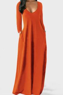 Tangerine Red Casual Solid Split Joint V Neck Straight Dresses