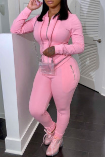 Pink Casual Solid Split Joint Zipper Hooded Collar Long Sleeve Two Pieces